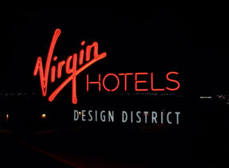 Virgin Hotels Dallas Puts Finishing Touches On Exterior With 25-Foot-Tall Rooftop Sign