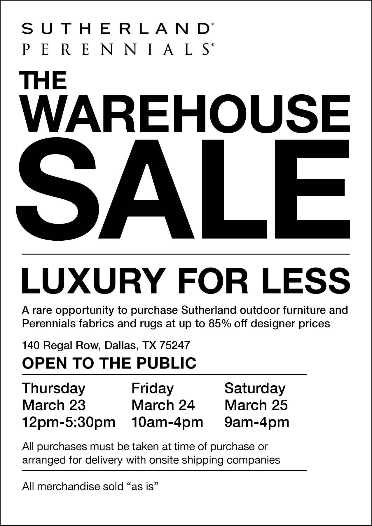 Designer Warehouse Sale Sutherland And Perennials Dallas