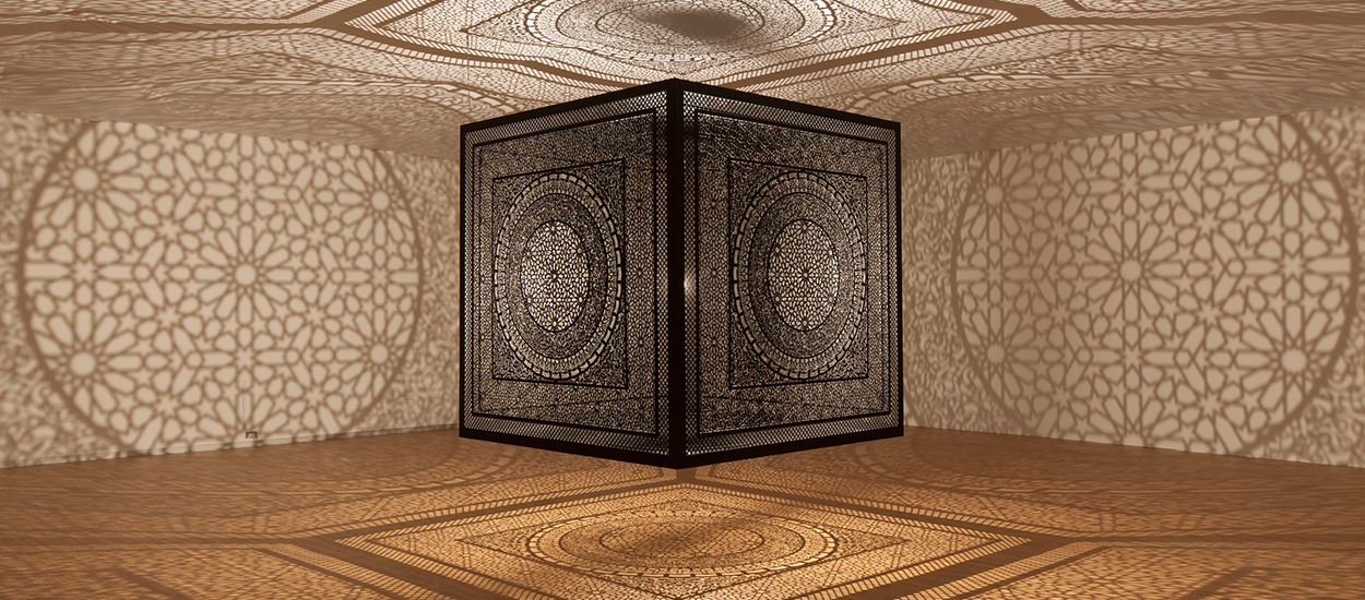 Anila Quayyum Agha. Intersections, 2013. Installation view at Dallas Contemporary, 2015 Photography by Kevin Todora. Courtesy of Dallas Contemporary and ArtPrize Dallas